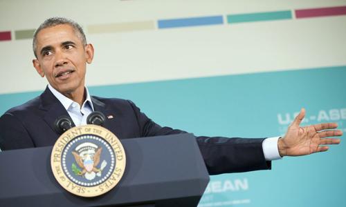 ong obama phat bieu trong cuoc hop bao sau hoi nghi. anh:reuters.