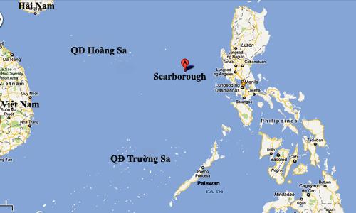 vi tri bai can scarborough tren bien dong. do hoa:google map