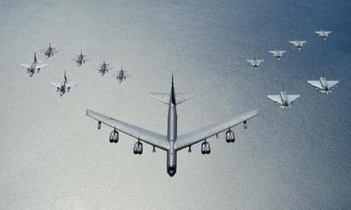 may bay b-52 my bay cung 12 chien dau co cua nato trong khuon kho cuoc tap tran baltops-2016. anh:interfax