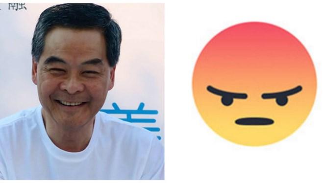 """sau 4 ngay dua vao su dung, luong chan anh, truong dac khu hanh chinh hong kong """"nhan"""" 150.000 bieu tuong gian du (phai) tren facebook ca nhan"""