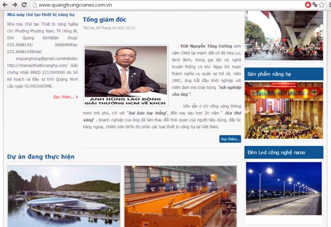 ong nguyen tang cuong tren trang web cua xi nghiep co khi quang trung
