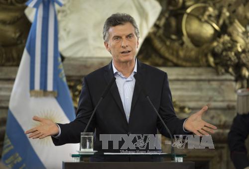 tong thong argentina mauricio macri phat bieu tai buenos aires ngay 7/4. anh: thx/ttxvn
