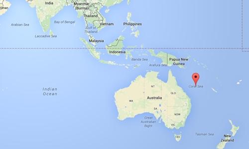 vi tri bien san ho, australia. do hoa:google maps.