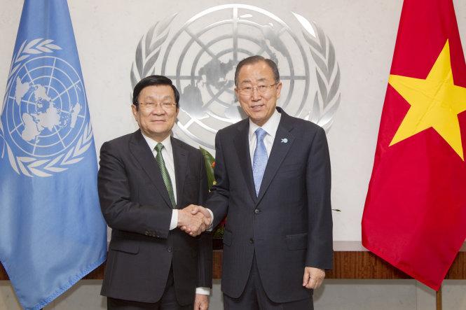Chủ tịch nước trao đổi với Tổng thư ký Liên Hợp Quốc về biển Đông