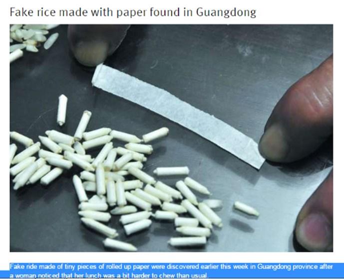 Phát hiện gạo giấy ở Trung Quốc