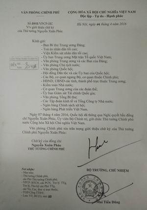 van ban gioi thieu chu ky cua thu tuong chinh phu nguyen xuan phuc