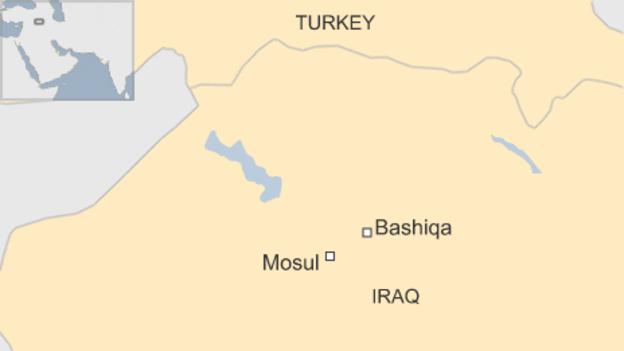 tho nhi ky da trien khai khoang 150 binh si toi thi tran bashiqa gan thanh pho mosul (do hoa: bbc)
