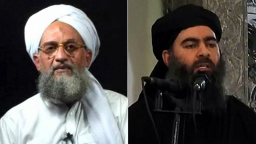 thu linh toi caoal-qaeda, ayman al-zawahiri (trai) va thu linh isabu bakr al-baghdadi. anh:abc news