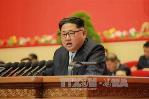 nha lanh dao kim jong un phat bieu tai dai hoi dang lao dong trieu tien o binh nhuong ngay 7/5. anh: reuters/ttxvn