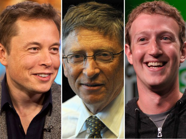 tu trai qua phai: ion musk, warren buffett, mark zuckerberg.