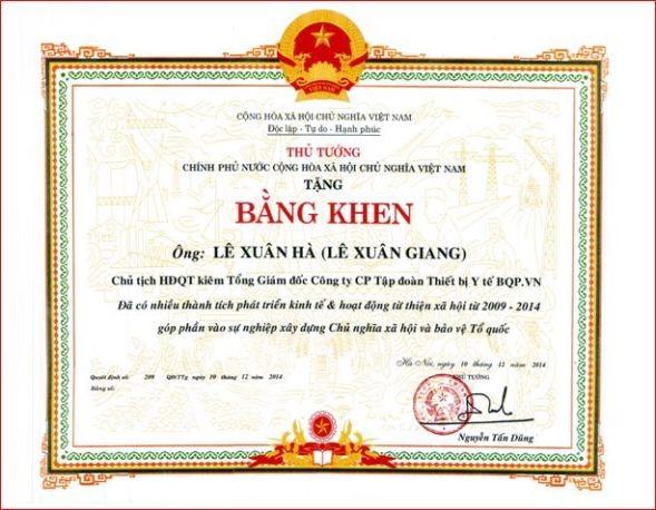 bang khen cua thu tuong (lam gia) cua bi can le xuan giang - anh:lkv.com.vn