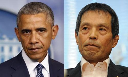 tong thong my barack obama va kazuya maruyama, nha lap phap dang dan chu tu do (ldp) cua nhat. anh:reuters, japantimes