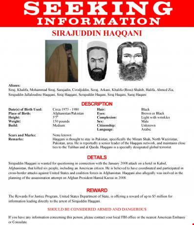 poster truy tim sirajuddin haqqani cua fbi, my. anh: reuters