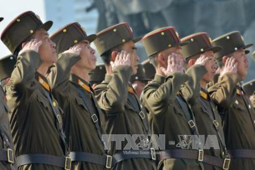 binh si trieu tien tham gia le ky niem lan thu 104 ngay sinh cua co chu tich kim nhat thanh ngay 15/4. anh: kyodo/ttxvn