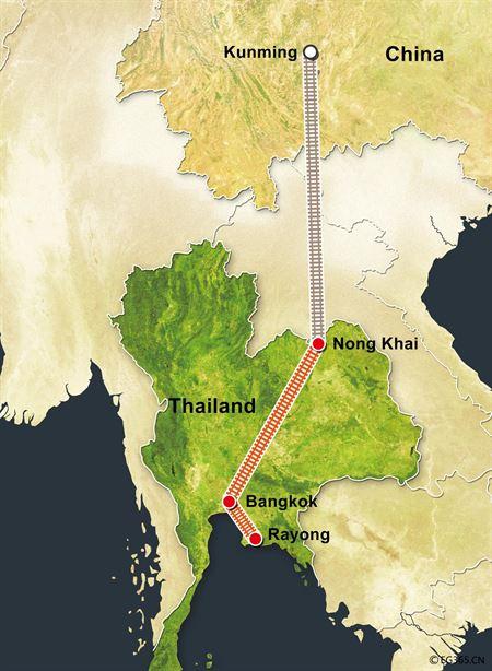 do hoa mo phong tuyen duong sat noi con minh, trung quoc voi bangkok, thai lan (anh: cfp)