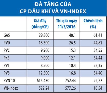 tinh chung, chi so pvn10 tang truong 22,22% tu muc day thap nhat cuoi thang 1/2016; trong khi do, vn-index co muc tang tuong ung la 10,54%.