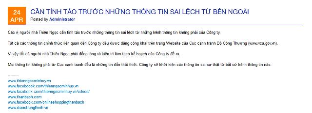"website thien ngoc minh uy khuyen ""cac vi nguoi nha"" tinh tao va lam theo ke hoach cua cong ty."