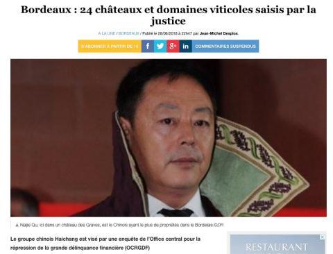 Hồi kết thê thảm, Trung Quốc thâu tóm rượu vang Bordeaux