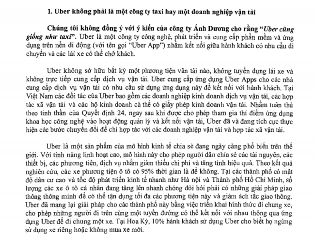 anh chup man hinh van ban tra loi cua uber gui bo gtvt tra loi ve cac kien nghi cua vinasun.