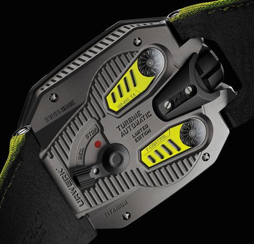 Những chiếc đồng hồ Urwerk được trang bị cơ chế lên dây cót tự động độc quyền air-turbin bằng việc sử dụng áp lực không khí, đồng thời cho phép người sử dụng dễ dàng lựa chọn hiệu suất hoạt động tối đa hoặc chống sốc cho bộ máy khi chơi thể thao.